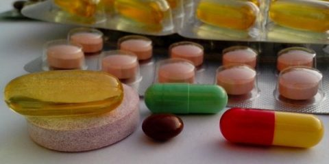 Vitamins and minerals on the table